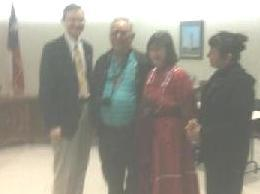 Mayor Jack Whitlow, Police Chief Joe Pena, Historian Mary Belle Meitzen, Choreographer Ann Smith Proclamation of Port Lavaca Calhoun County All Cultures and Cuisines Parade of Ancestors on Feb 20 2012, day La Salle landed in the county in 1685