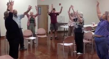 Mean it? Move it.  Dr. Peggy Powell Dobbins invents  Mind and Body Excercises using International Signs and multi languages with Walter Hicks, Evelyn Burleson, Jim Ward, Kathleen Leabo, Chris O'Neil, and Isabel Saez at Senior Center in Port LaVaca Texas